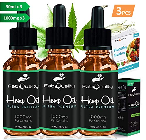 FabQuality Hemp Oil 1000mg for Pain, Anxiety, Stress & Joint Relief, Mood & Sleep Support, Natural Organic Tincture Oils…