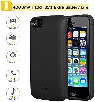 Mbuynow 4000mah Funda Batería Recargable para iPhone 5S Batería Externa para iPhone 5/5S/5Se - Negro