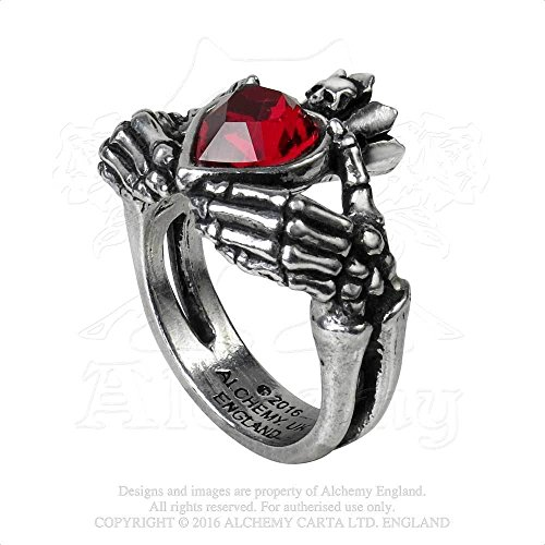 Womens Fashion Jewelry Ring Gothic Romantic Claddagh Red Heart of Love Skeleton Hands of Eternity (Pewter Skeleton)