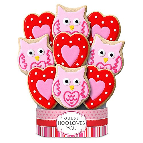 valentine cookie gifts - Shari's Berries - Hoo Loves You 9 Piece Cookie Bouquet - 9 Count - Gourmet Baked Good Gifts