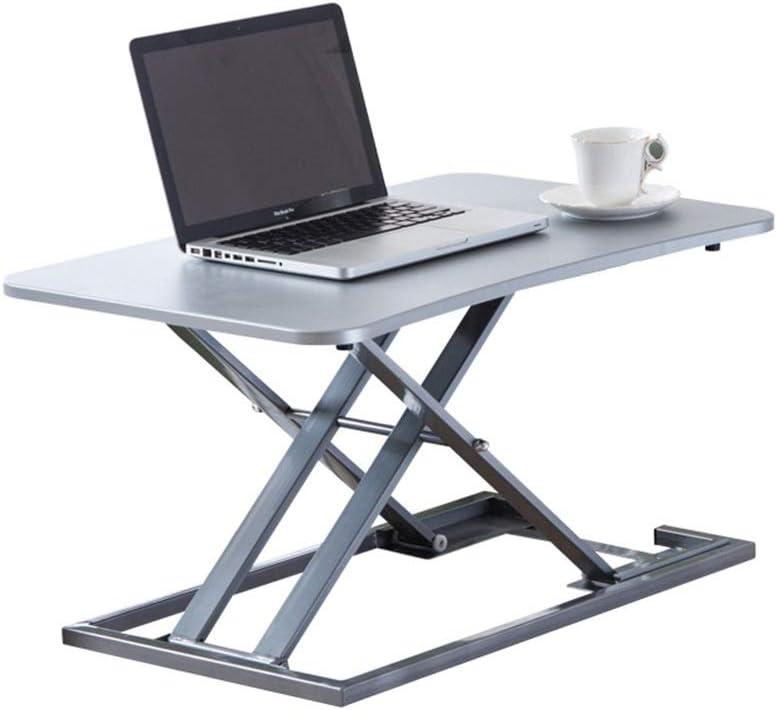 デスクトップデスク デスクライザーオフィスワークステーションを立ちデスクスタンドアップするためにデスク、高さ調節可能なコンバータシットを立ち (Color : Silver, Size : One size)