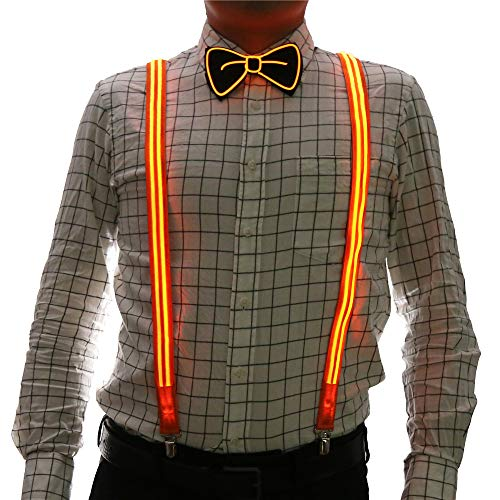 Good Halloween Music For A Party (2 Pcs/Set, Good Quality Light Up Men's LED Suspenders And Bow Tie, Perfect for Music Festival Halloween Costume Party (New)