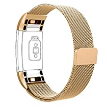Vancle Fitbit Charge 2 Band, Milanese Stainless Steel Metal Replacement Accessory Bracelet Strap with Magnet Lock for Fitbit Charge 2 (No Tracker) (Gold, Large)