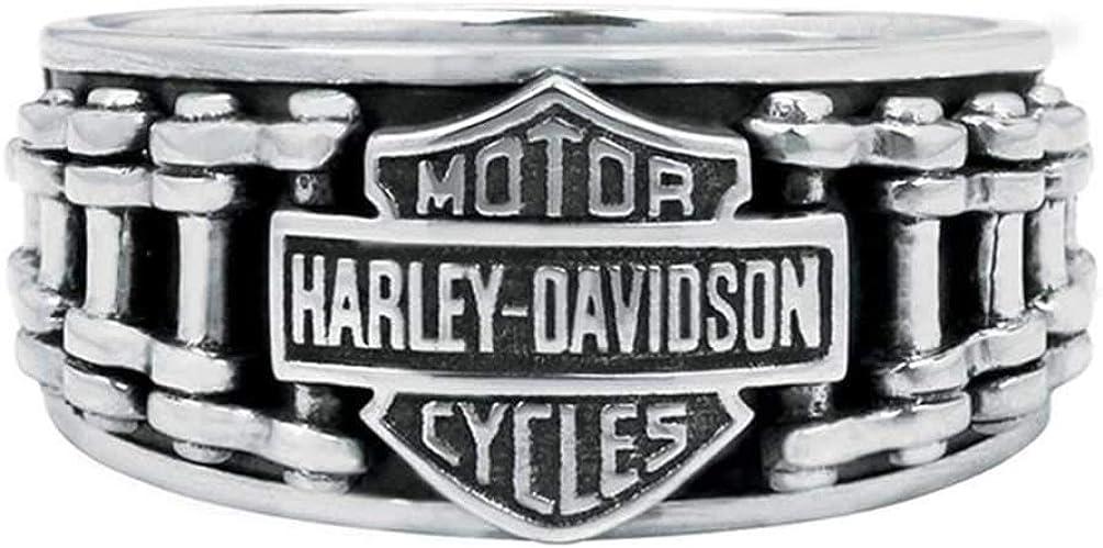 Harley-Davidson Men's Bar & Shield Bike Chain Ring, Sterling Silver HDR0260