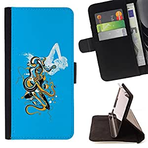 DEVIL CASE - FOR Samsung Galaxy S6 - Octopus Woman Sea Monster Goddess Ocean - Style PU Leather Case Wallet Flip Stand Flap Closure Cover