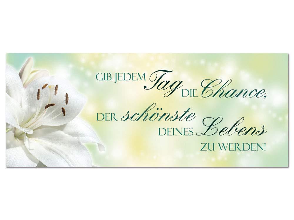 GRAZDesign Wandbilder mit Spruch - Gib jedem Tag die Chance mit Blumen - Acrylglasbild Glasbild aus Acryl - Wanddekoration für Wohnzimmer / 125x50cm / 100432_002_01_04