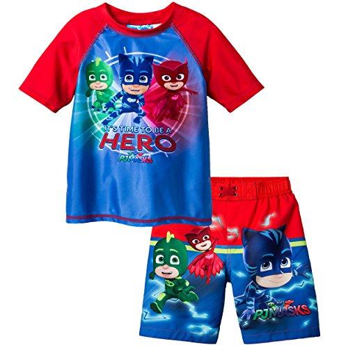 PJ Masks Boys Swim Trunks and Rash Guard Set (Toddler)