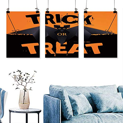 SCOCICI1588 3-Piece Modern Hanging Origami bat and Trick or Treat Halloween Text Print On Canvas No Frame 16 INCH X 24 INCH X 3PCS ()