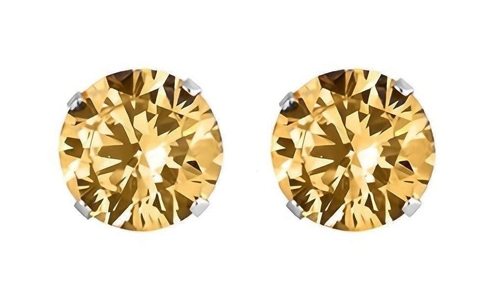 Tan//Brown 6mm Round Glitzs Jewels 925 Sterling Silver Cubic Zirconia CZ Stud Earrings for Women