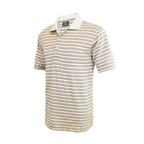 Monterey Club Mens Pima Cotton Jacquard Shirt #1388 (Stone/Khaki, X-Large)