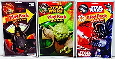 How To Train Your Dragon 2 / Stars Wars Darth Vader & Yoda - Set of 24 Play Pack Grab & Go - party coloring and activity play packs