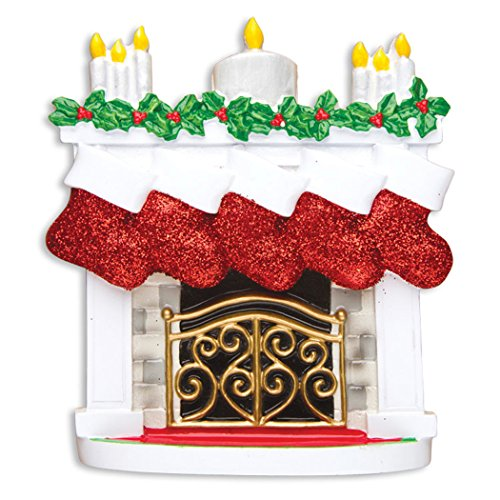 (Personalized Mantle Family of 5 Christmas Tree Ornament 2019 - Elegant Fireplace Red Glitter Stockings Candles Parent Child Friend Winter Activity Tradition Grand-Kid Gift Year - Free Customization)