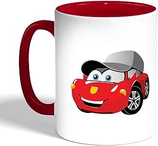 كوب سيراميك للقهوة، لون احمر، بتصميم شخصيات كرتونية - سيارة