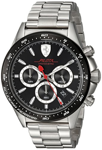 Scuderia-Ferrari-Mens-PILOTA-Quartz-Stainless-Steel-Casual-Watch-ColorSilver-Toned-Model-0830393