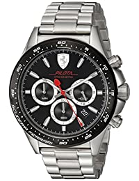 Ferrari Men's 'PILOTA' Quartz Stainless Steel Casual Watch, Color:Silver-Toned (Model: 0830393)