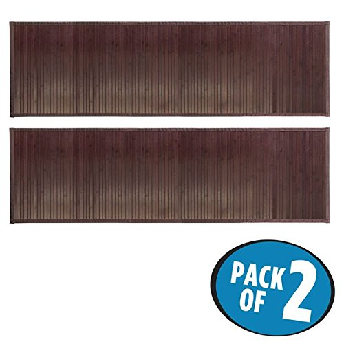mDesign Water-Resistant Bamboo Floor Mat for Bathroom - Pack of 2, Extra Large, Mocha