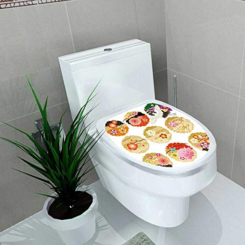Auraise-home Bathroom Removable PVC Japanese Floral Round Golden Frame s with Antique Asian Nature Figures OrganicNatural Graphic Rectan Vinyl Removable Bathroom W13 x - Akira Pvc Figure