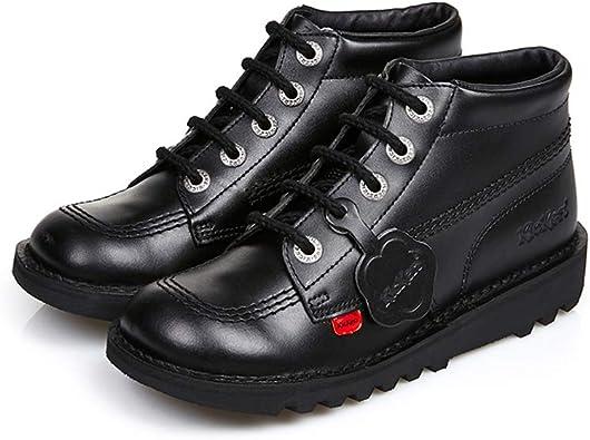 Kickers Kick Hi I Black Leather Infant