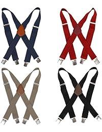 4pc Various Design X-Back Adjustable Clip Unisex Suspender