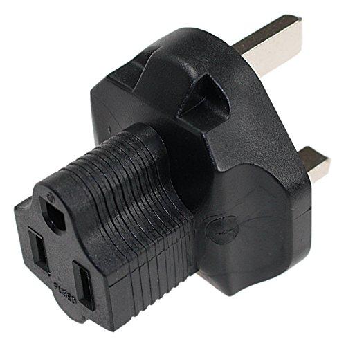 3 Prong Power Plug Adaptor. USA NEMA 5-15R Receptacle to Fus