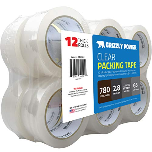 Grizzly Brand Clear Packing Tape Refill Rolls for Shipping, Moving, Packaging - True 2 inch x 65 Yards, 2.8mil Thick, 12 Rolls from Grizzly Brand