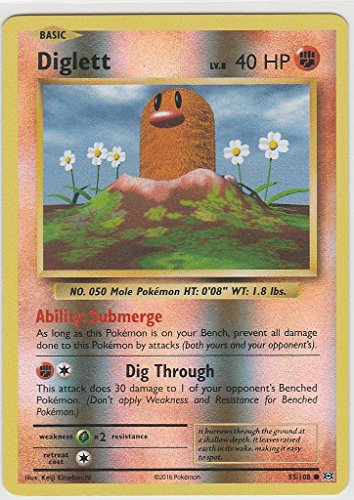 108 Common Pokemon Card - Pokemon TGC: XY Evolution Set Reverse Holo Diglett COMMON 55/108