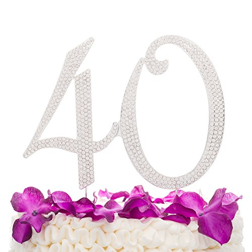 Ella Celebration 40 Cake Topper for 40th Birthday or Anniversary Party Supplies, Silver Decoration Ideas -
