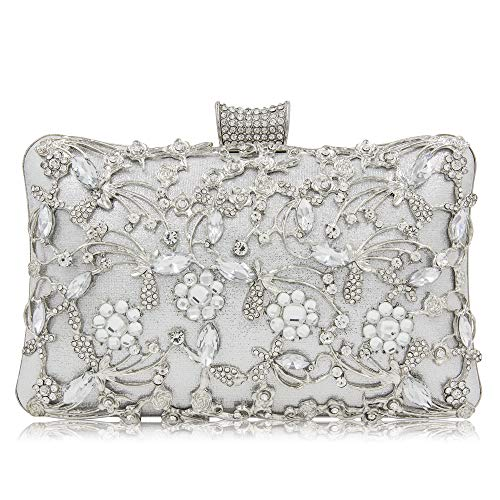 Yekajlin Women Crystal Clutches Bridal Evening Bags And Clutches For Women Large Handbag Clutch Purse With Strap (Silver) ()