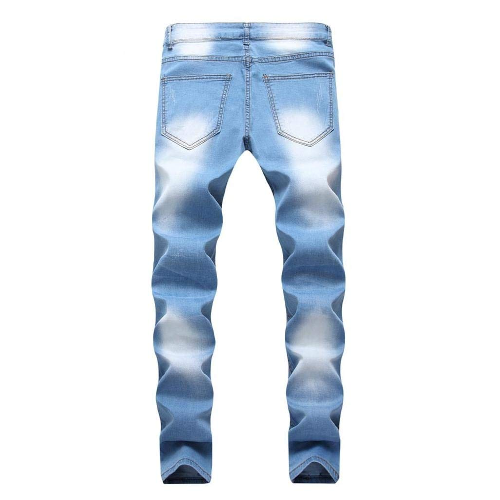 Mens Stretchy Ripped Skinny Biker Jeans Slim Fit Denim Pants with Destroyed Hole