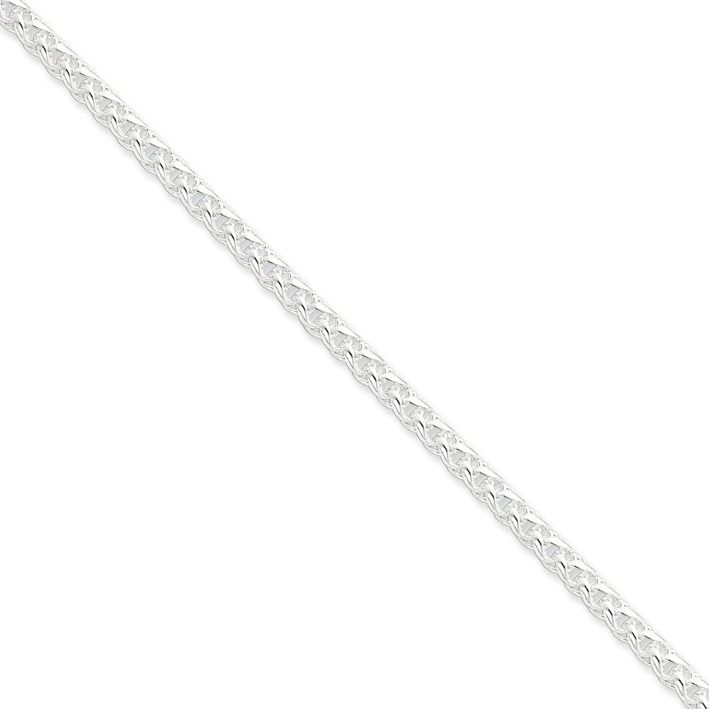 Sterling Silver Polished Solid 4mm Round Spiga Necklace With Lobster Clasp Length 16 Inch