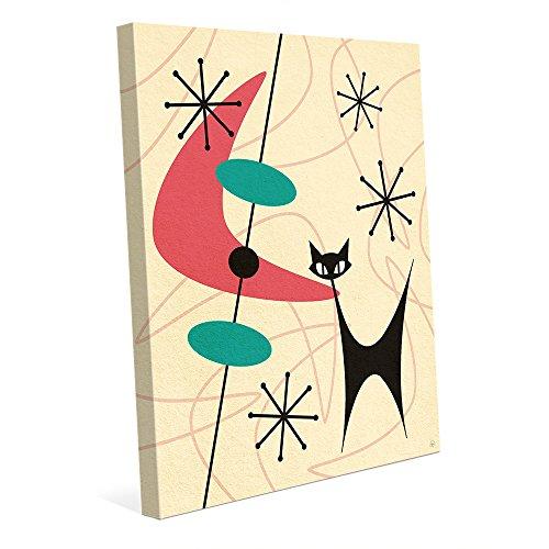 Retro Black Space Cat Boomerang Pink Mid-Century Postmodern Abstract Painting Illustration Wall Art Print on - Retro Cat