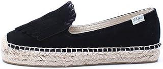 YOPAIYA Espadrilles Plat Loafers Cuir Noir Femmes Chaussures Café Plateforme en Daim Automne Plateforme Plate-Forme Chaussures pour Femme