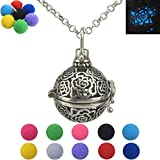 Vintage Silver Rose Flower Locket Necklace Essential Oil Aromatherapy Diffuser