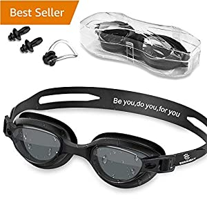 Swim Goggles – Swimming Goggles with Nose Clip + Ear Plugs, Anti Fog for Adult Men Women Youth (Black)