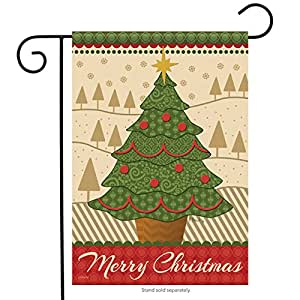 "Merry Christmas Tree Garden Flag Holiday Star Decorative Banner 13"" x 18"""