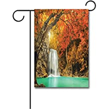 Wondertify Garden Flags Waterfall Majestic Waterfall Cascade in the Forest Flows down Crystal Pure Habitat Double Sided House Decoration Polyester Garden Flag 18 X 27 Inches