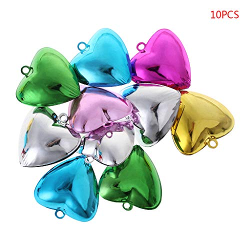 Because0f Heart Shape Christmas Jingle Bells, 10 Pcs Bells Craft Kits Xmas Decoration Bells Ornament (Smooth Surface)