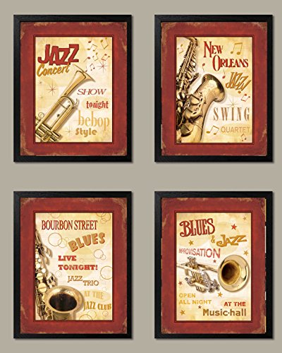 Framed Retro, Vintage New Orleans Jazz and Blues Show Signs Four Poster Prints