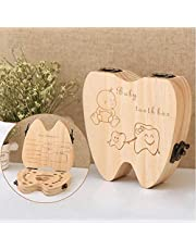 Anncus 20pcs Baby Girl Boy Tooth Box Organizer For Baby Save Milk Teeth Wood Storage Box Tooth Shape Announcements Collecting