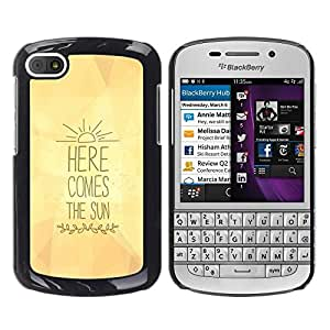 FlareStar Colour Printing Here Comes The Sun Yellow Lyrics Text cáscara Funda Case Caso de plástico para BlackBerry Q10