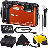 Nikon COOLPIX W300 Digital Camera (Orange) 26524 International Model + Nikon Waterproof Floating Strap + MicroFiber Cloth Bundle