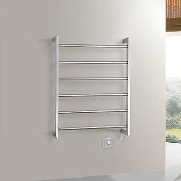 JackeyLove Toallero eléctrica calienta Toallas Carril termostático baño portátil Toalla Calentador de Acero Inoxidable Estante 800 * 500 * 110m m-60W: ...