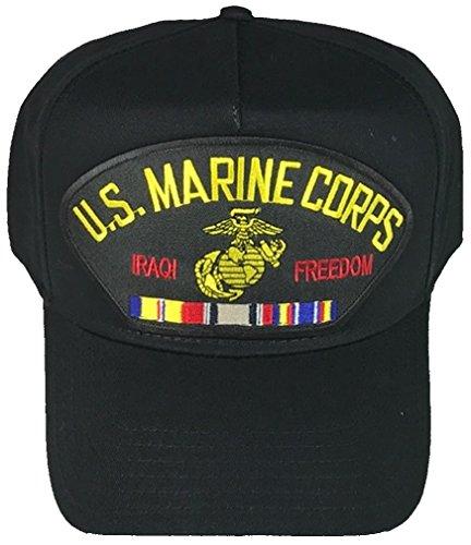 Iraqi Freedom Ribbon - U.S. MARINE CORPS IRAQI FREEDOM VETERAN W/ COMBAT ACTION RIBBON HAT - BLACK - Veteran Owned Business