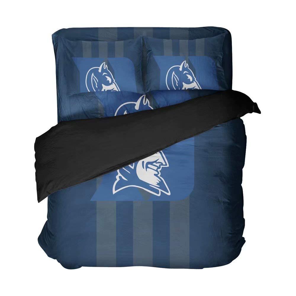 Maspt Durham American College Basketball Bedding Sets Simple Design Duvet Coverlets Bed Set Breathable Pillowcases 4 Pieces(Twin 4pcs)