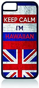 """Hawaii Flag-""""Keep Calm, I'm Hawaiin""""- Case for the Apple Iphone 6 Only-Hard Black Plastic Outer Shell"""