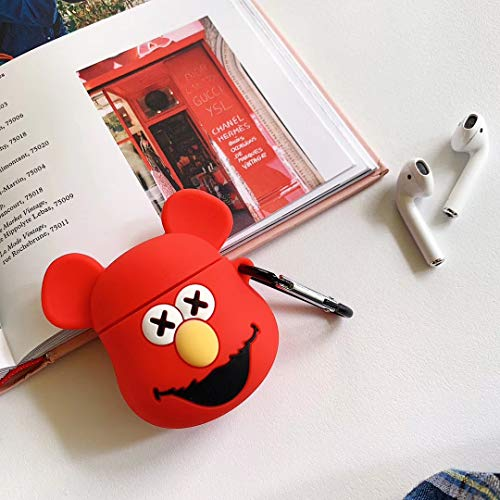 Animal Airpod Case for Apple Airpods 1&2, SevenPanda Cute 3D Funny Cartoon Soft Silicone Cover, Kawaii Fun Cool Keychain Design Skin, Fashion Color Cases for Girls Kids Boys Air pods - Cow Devil Red