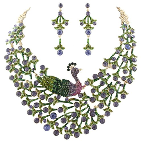 EVER FAITH Women's Austrian Crystal Enamel Peacock Statement Necklace Earrings Set Purple Gold-Tone
