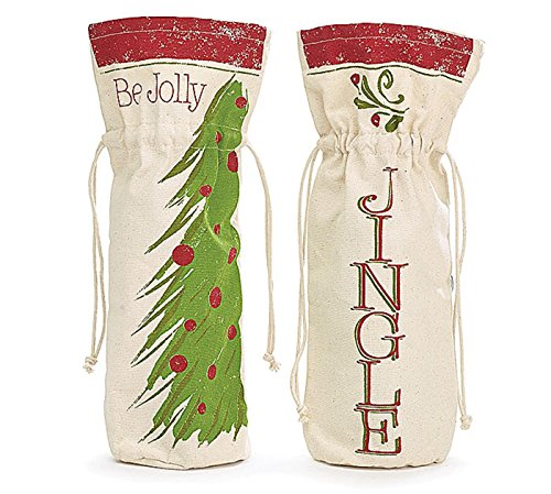 Christmas Canvas Wine Bottle Gift Bags
