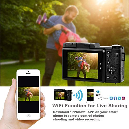 Digital Camera 2.7k 24MP Ultra HD Vlogging Cameras for YouTube 3.0 Inch 180 Degree Rotation Flip Screen with Retractable Flash Light