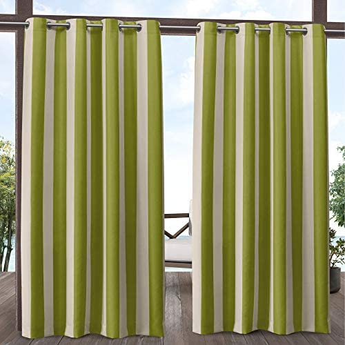 Exclusive Home Curtains Canopy Stripe Indoor/Outdoor Grommet Top Curtain Panel Pair